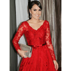 A-Line/Princess Lace Long Sleeves V-neck Sweep Train Zipper Up Mother of the Bride Dresses