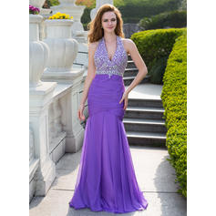 Trumpet/Mermaid Chiffon Prom Dresses Ruffle Beading Halter Sleeveless Floor-Length (018210466)