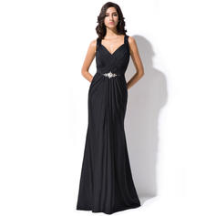 Luxurious Lace Jersey Evening Dresses Trumpet/Mermaid Sweep Train V-neck Sleeveless (017052715)