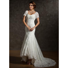 Trumpet/Mermaid Sweetheart Asymmetrical Wedding Dresses With Ruffle Lace Beading (002211047)
