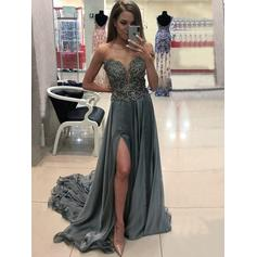 A-Line/Princess Scoop Neck Sweep Train Chiffon Evening Dresses With Beading Appliques Lace Split Front