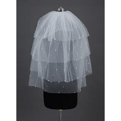 Fingertip Bridal Veils Tulle Four-tier Classic With Cut Edge Wedding Veils