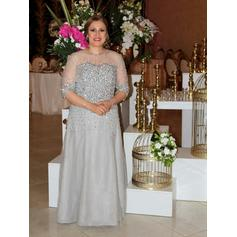 A-Line/Princess Scoop Neck Floor-Length Mother of the Bride Dresses With Beading
