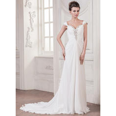 A-Line/Princess Sweetheart Court Train Wedding Dresses With Ruffle Beading Sequins