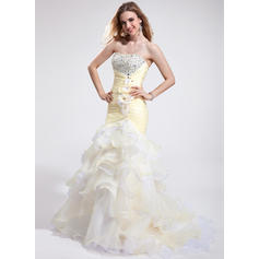 Trumpet/Mermaid Sweetheart Court Train Prom Dresses With Beading Feather Flower(s) Sequins Cascading Ruffles (018025265)