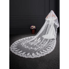 Cathedral Bridal Veils Two-tier Classic With Lace Applique Edge With Lace Wedding Veils