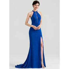 Trumpet/Mermaid Scoop Neck Sweep Train Jersey Evening Dress With Beading Sequins Split Front