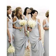A-Line/Princess Chiffon Bridesmaid Dresses Ruffle V-neck Sleeveless Floor-Length (007212234)