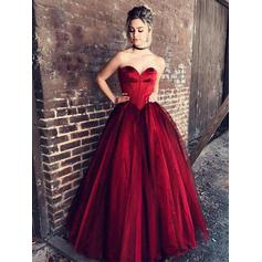 Ball-Gown Sweetheart Floor-Length Prom Dresses With Ruffle