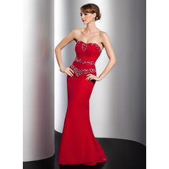 Trumpet/Mermaid Sweetheart Watteau Train Evening Dresses With Ruffle Beading