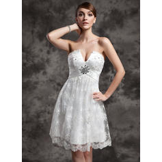 Empire Sweetheart Knee-Length Wedding Dresses With Ruffle Beading Sequins (002210460)