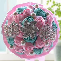 "Bridal Bouquets/Bridesmaid Bouquets Round Wedding Satin/Rhinestone 9.84""(Approx.25cm) Wedding Flowers"