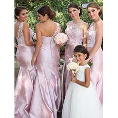 Trumpet/Mermaid Satin Bridesmaid Dresses Appliques Lace One-Shoulder Sleeveless Floor-Length