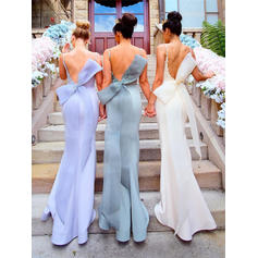 Trumpet/Mermaid Satin Bridesmaid Dresses Appliques Lace Bow(s) Scoop Neck Sleeveless Sweep Train (007145121)