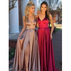 A-Line/Princess V-neck Sweep Train Prom Dresses With Ruffle Split Front (018218094)