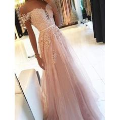 A-Line/Princess Off-the-Shoulder Floor-Length Tulle Evening Dresses With Sash Appliques Lace