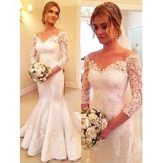 Elegant Off-The-Shoulder Trumpet/Mermaid Wedding Dresses Court Train Tulle 3/4 Length Sleeves (002210842)