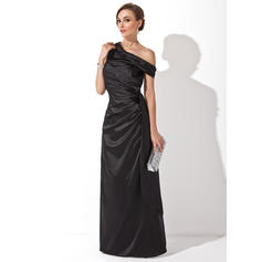 Sheath/Column Off-the-Shoulder Floor-Length Evening Dresses With Ruffle (017201167)