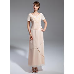A-Line/Princess Chiffon Short Sleeves Scoop Neck Ankle-Length Zipper Up Mother of the Bride Dresses