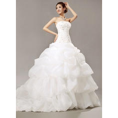 Ball-Gown Organza Sleeveless Strapless Cathedral Train Wedding Dresses