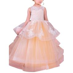 Ball Gown Scoop Neck Floor-length With Appliques Organza Flower Girl Dresses