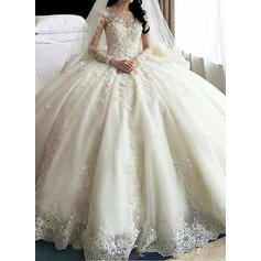 Ball-Gown Organza Long Sleeves Scoop Royal Train Wedding Dresses