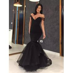 Trumpet/Mermaid Off-the-Shoulder Floor-Length Prom Dresses With Ruffle Cascading Ruffles