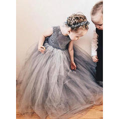 A-Line/Princess Scoop Neck Floor-length With Bow(s) Tulle/Lace Flower Girl Dresses