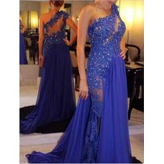 Glamorous Chiffon Evening Dresses A-Line/Princess Court Train One-Shoulder Sleeveless (017196752)