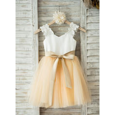 A-Line/Princess Straps Knee-length With Sash Satin/Tulle Flower Girl Dresses (010211644)