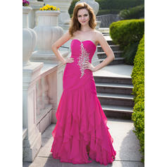 Trumpet/Mermaid Sweetheart Floor-Length Prom Dresses With Beading Cascading Ruffles (018024656)