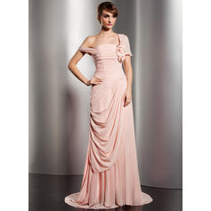 A-Line/Princess Off-the-Shoulder Watteau Train Evening Dresses With Ruffle Flower(s) (017014578)