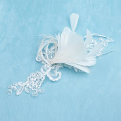 """Flowers & Feathers Wedding/Special Occasion Feather/Lace 8.66""""(Approx.22cm) 7.87""""(Approx.20cm) Headpieces"""