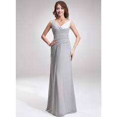 A-Line/Princess Chiffon Charmeuse Bridesmaid Dresses Ruffle Beading V-neck Sleeveless Floor-Length (007001107)