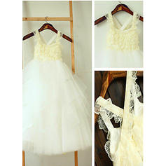 A-Line/Princess Square Neckline Ankle-length With Ruffles Tulle Flower Girl Dresses
