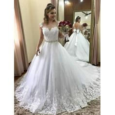 Ball-Gown Scoop Court Train Wedding Dresses With Beading Appliques Lace Bow(s)