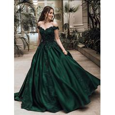 Ball-Gown Off-the-Shoulder Sweep Train Prom Dresses With Beading Appliques (018148444)