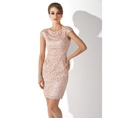 Sheath/Column Lace Short Sleeves Scoop Neck Knee-Length Zipper Up Mother of the Bride Dresses (008211204)