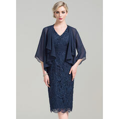 Sheath/Column V-neck Knee-Length Lace Mother of the Bride Dress With Ruffle