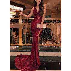 Trumpet/Mermaid Cowl Neck Sweep Train Evening Dresses With Ruffle