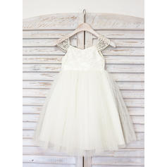 A-Line/Princess Straps Knee-length With Lace Tulle Flower Girl Dresses (010211615)
