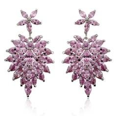 """Earrings Zircon/Platinum Plated Pierced Vintage 1.81""""(Approx.4.6cm) Wedding & Party Jewelry"""