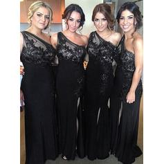 Sheath/Column Lace Jersey Bridesmaid Dresses One-Shoulder Sleeveless Floor-Length