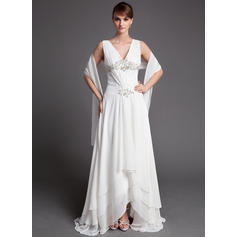 A-Line/Princess Chiffon Sleeveless V-neck Asymmetrical Zipper Up Mother of the Bride Dresses