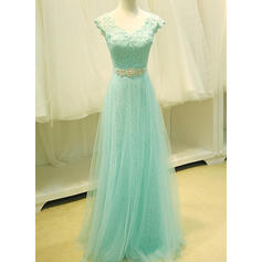 A-Line/Princess Tulle Prom Dresses Lace Beading Sequins V-neck Sleeveless Floor-Length (018196648)