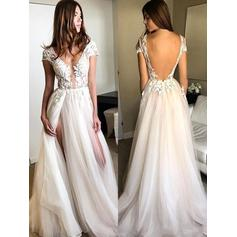 A-Line/Princess Tulle Prom Dresses Appliques Lace Split Front V-neck Sleeveless Floor-Length (018196645)