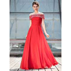 A-Line/Princess Chiffon Sleeveless Off-the-Shoulder Floor-Length Zipper Up Mother of the Bride Dresses
