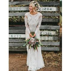 Scoop A-Line/Princess Wedding Dresses Lace Long Sleeves Sweep Train