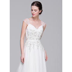 a line wedding dresses with pockets