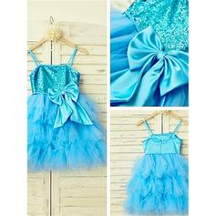 A-Line/Princess Square Neckline Knee-length With Bow(s) Tulle/Sequined Flower Girl Dresses